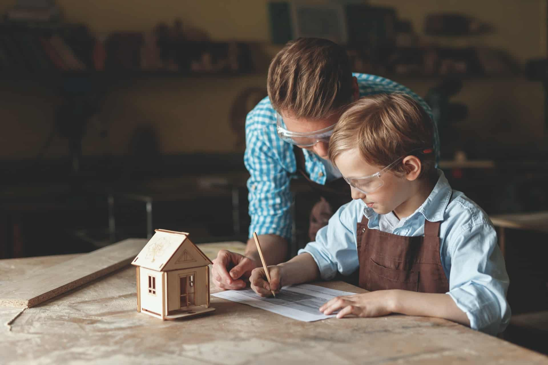 parent and child with a wooden house WDE823U - 5 Things You Can Do At Home With Your Kids